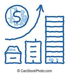 icône, construction, résidentiel, bâtiments, griffonnage, dessiné, illustration, graduel, main, monétaire