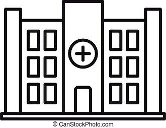 icône, contour, bâtiment, style, privé, clinique