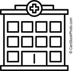icône, contour, hôpital, bâtiment, style