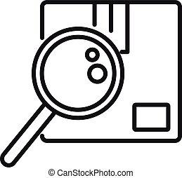 icône, contour, recherche, paquet, style