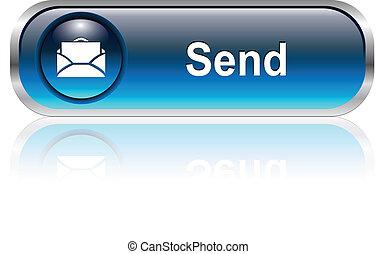 icône, courrier, bouton
