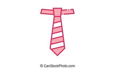 icône, cravate, rayé, animation