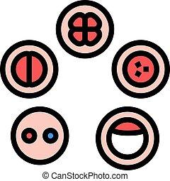 icône, développement, cellule, illustration, vecteur, couleur
