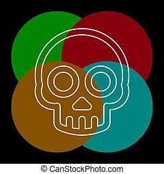 icône, danger, vecteur, crâne crâne