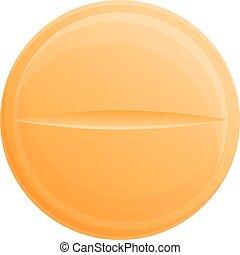 icône, dessin animé, style, orange, pilule
