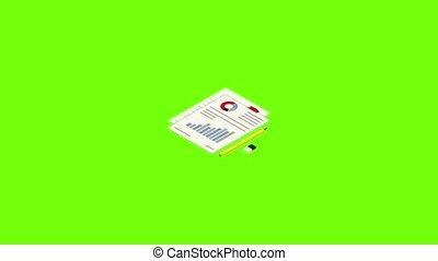 icône, diagramme, animation, papier