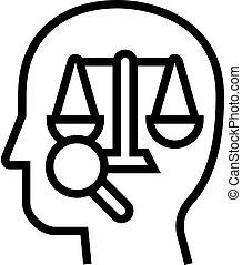 icône, droit & loi, ligne, illustration, droit, vecteur, dictionnaire