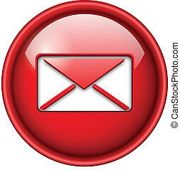 icône, email, courrier, button.