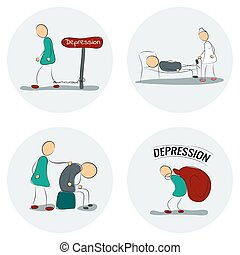 icône, ensemble, dépression, homme