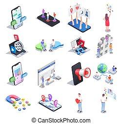 icône, ensemble, social, réseau