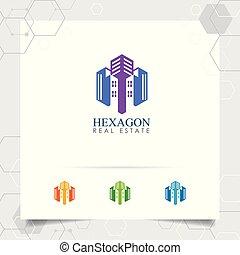 icône, entrepreneur, résidence, logo, construction, bâtiment., vecteur, propriété, scape., concept, propriété, vrai, appartement, conception, ville