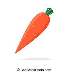 icône, fond, carotte, illustration, blanc, orange, vecteur