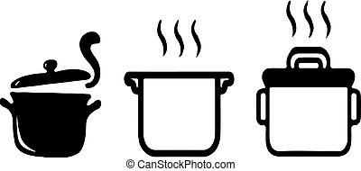 icône, fond, pot, isolé, blanc, chaud