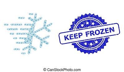 icône, garder, cachet, timbre, fractal, composition, gelée, surgelé, flocon de neige, caoutchouc