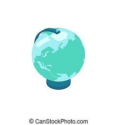 icône, globe, isométrique