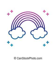 icône, gradient, ligne, arc-en-ciel, nuages, style