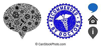 icône, healthcare, gratté, contagion, recommandé, mosaïque, hint, cachet, médecins