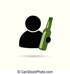 icône, homme, bouteille, illustration, main