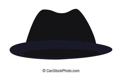 icône, homme, chapeau, animation