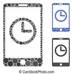 icône, horloge, composition, mobile, cercles