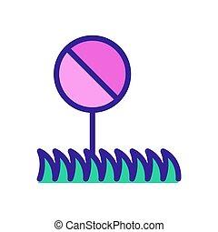 icône, illustration, interdit, marche, vecteur, herbe, chien, contour