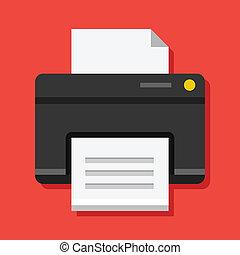 icône, imprimante, vecteur