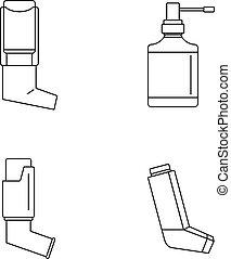 icône, inhalateur, ensemble, style, contour
