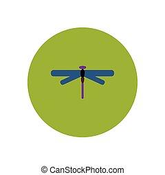 icône, insecte, couleur, élégant, cercle, libellule
