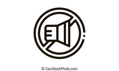 icône, interdiction, orateur, animation