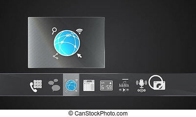 icône, internet, application, mobile