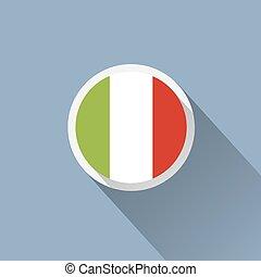 icône, italie, bouton, drapeau
