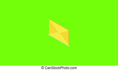 icône, jaune, courrier, animation
