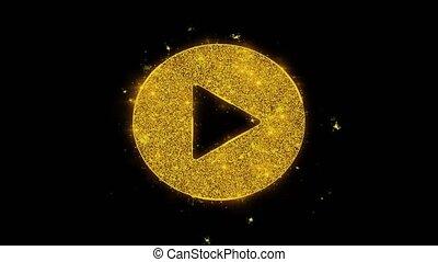 icône, jeu, arrière-plan., vidéo, noir, étincelles, particules