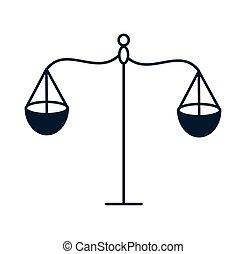icône, justice, équilibre, isolé, échelle