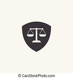 icône, justice, bouclier, firme, droit & loi, logo, balances