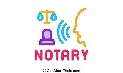 icône, légal, animation, notary