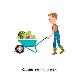 icône, légumes, entiers, brouette, paysan