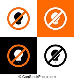 icône lampe, non, vecteur, lightbulb, signe, -, interdit