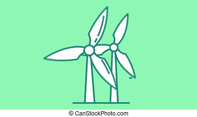 icône, ligne, canal alpha, éoliennes