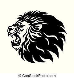 icône, lion, vecteur, conception, logo, rugir, mascotte