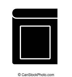 icône, livre, fermé, étiquette, conception, vecteur, style, silhouette