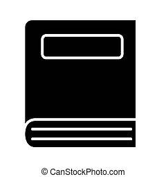 icône, livre, fermé, étiquette, devant, conception, vue, vecteur, style, silhouette