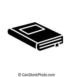icône, livre, fermé, ruban, étiquette, conception, vecteur, style, silhouette