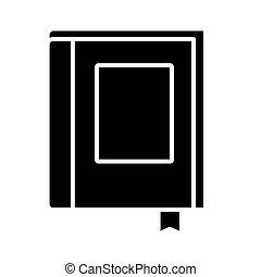 icône, livre, fermé, ruban, conception, vecteur, style, silhouette