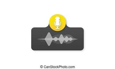 icône, logo., podcast., timbre, graphics., mouvement, écusson