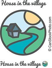 icône, logo, vecteur, coucher soleil, village