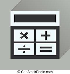 icône, long, business, ombre, plat, calculatrice