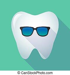 icône, long, ombre, dent, lunettes soleil