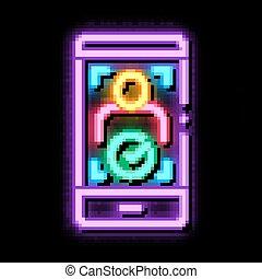 icône, lueur, téléphone, personne, illustration, néon, vérification