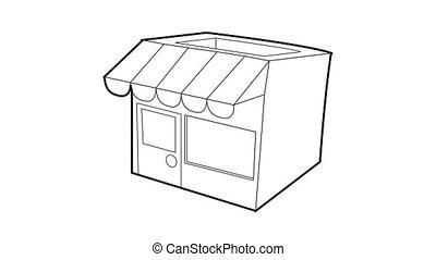 icône, magasin, animation